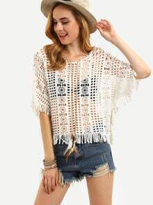 White Crochet Hollow Out Fringe Lace Up Top