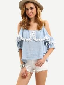 Cold Shoulder Contrast Lace Shirt