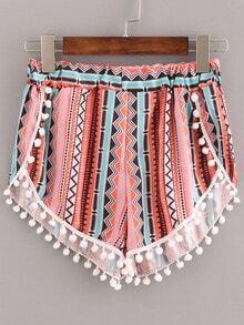 Multicolor Elastic Waist Print Pom Pom Shorts