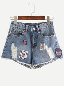 Blue Ripped Patch Denim Shorts
