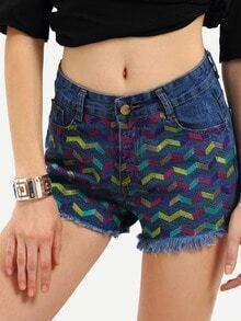 Blue Fringe Embroidered Denim Shorts