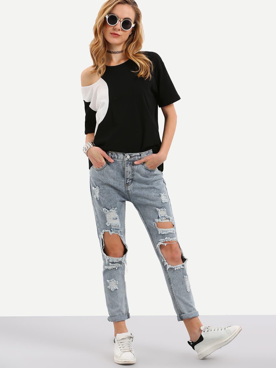 Фото Cut Out Ripped Cuffed Jeans. Купить с доставкой
