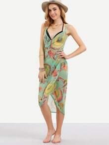 Spaghetti Strap Florals Backless Chiffon Beach Dress