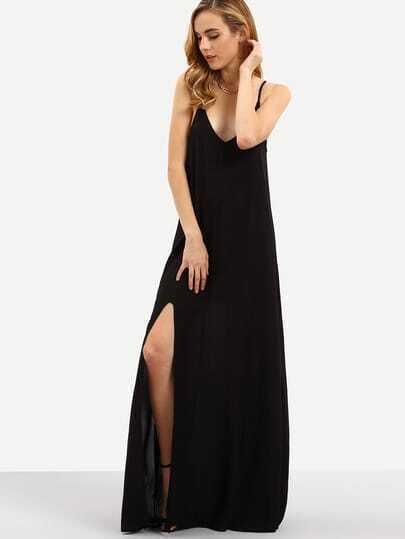 Spaghetti Strap Backless Split Maxi Dress