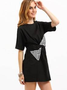 Black Short Sleeve Bow Dress
