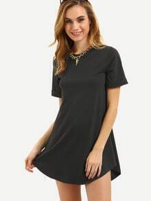 Black Short Sleeve Cuffed Curved Hem Dress