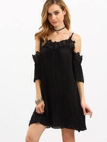 Black Cold Shoulder Crochet Pleated Dress