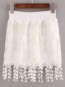 White Elastic Waist Lace Crochet Fringe Skirt