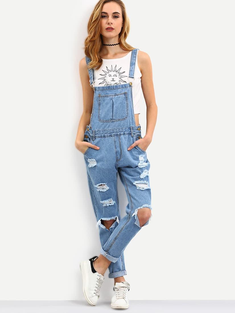Купить Светло-синий рваный джинсовый комбинезон на подтяжках, Charlotte, SheIn