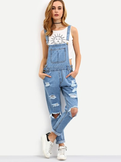 Cutout Ripped Denim Dungarees