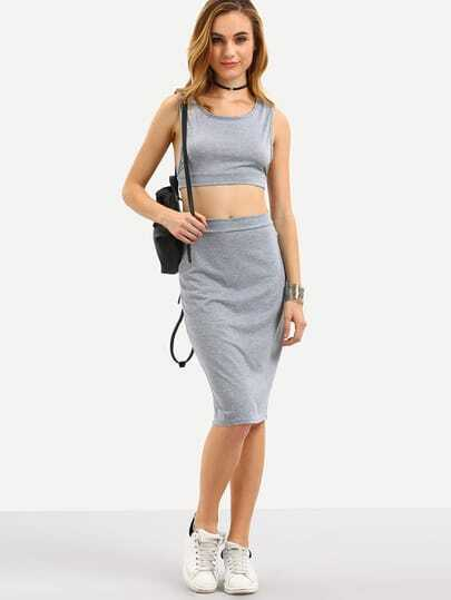 Grey Crop Tank Top With Elastic Waist Skirt