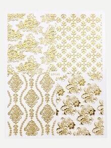 Gold Flower Nail Sticker