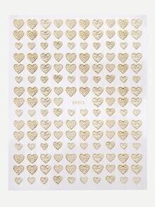 Gold Heart Shaped Nail Sticker