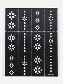 White Star And Flower Nail Sticker