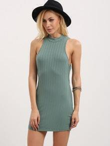 Mock Neck Ribbed Cutout Cross Back Dress - Green