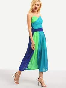 Color Block Ruched Bandeau Dress