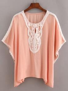 Pink Contrast Crochet Trimmed Top