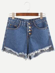 Blue Fringe Single Breasted Denim Shorts