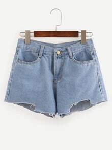 Blue Fringe Denim Shorts