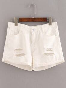 White Ripped Cuffed Denim Shorts