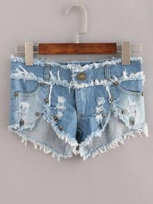 Blue Fringe Studed Denim Shorts