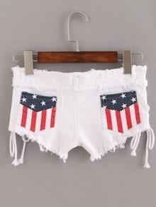 White Stars Fringe Lace Up Denim Shorts