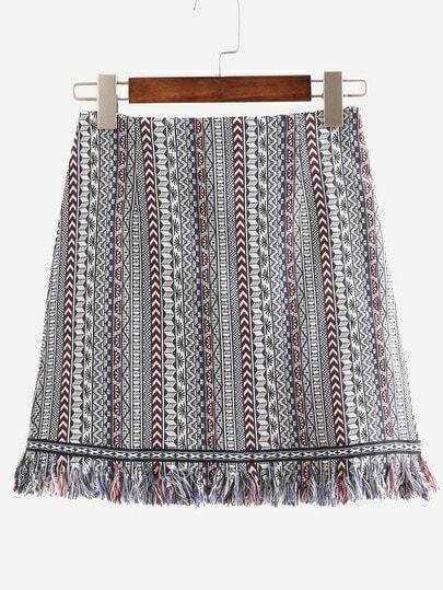 Tribal Print Fringe A-Line Skirt
