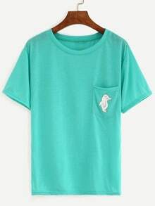 Green Dolphin Print Pocket T-Shirt