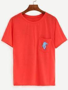 Red Dolphin Print Pocket T-Shirt