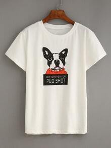 Dog Print White T-shirt