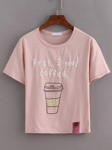 Coffee Print Pink T-shirt
