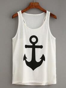 Anchor Print White Tank Top
