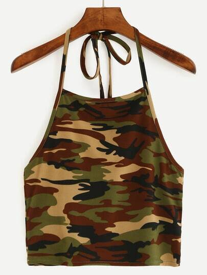 Halter Neck Camouflage Crop Cami Top - Olive Green