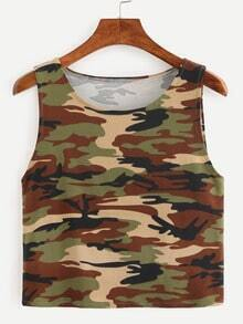 Camouflage Crop Tank Top - Olive Green