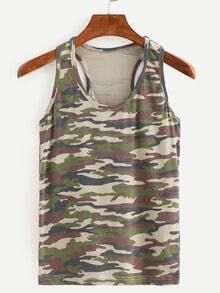 Camouflage Racerback Tank Top - Olive Green