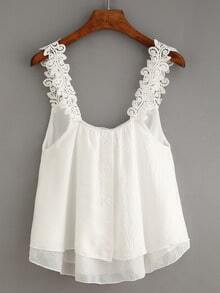 Buttoned Front Lace Strap Top - White