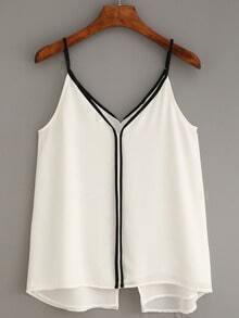 Contrast Trim Slit Chiffon Cami Top - White