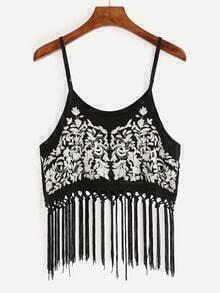 Macrame Fringe Embroidered Cami Top - Black