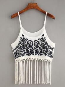 Macrame Fringe Embroidered Cami Top - White