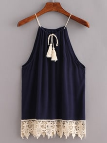 Lace Trimmed Tasselled Drawstring Neck Top - Blue