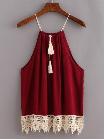 Lace Trimmed Tasselled Drawstring Neck Top