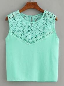 Lace Insert Sleeveless Chiffon Top - Mint Green