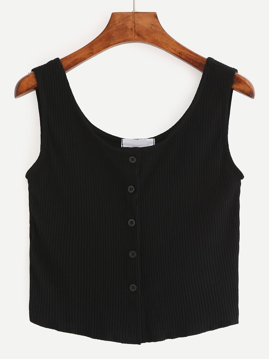 Фото Buttoned Front Ribbed Knit Crop Tank Top - Black. Купить с доставкой