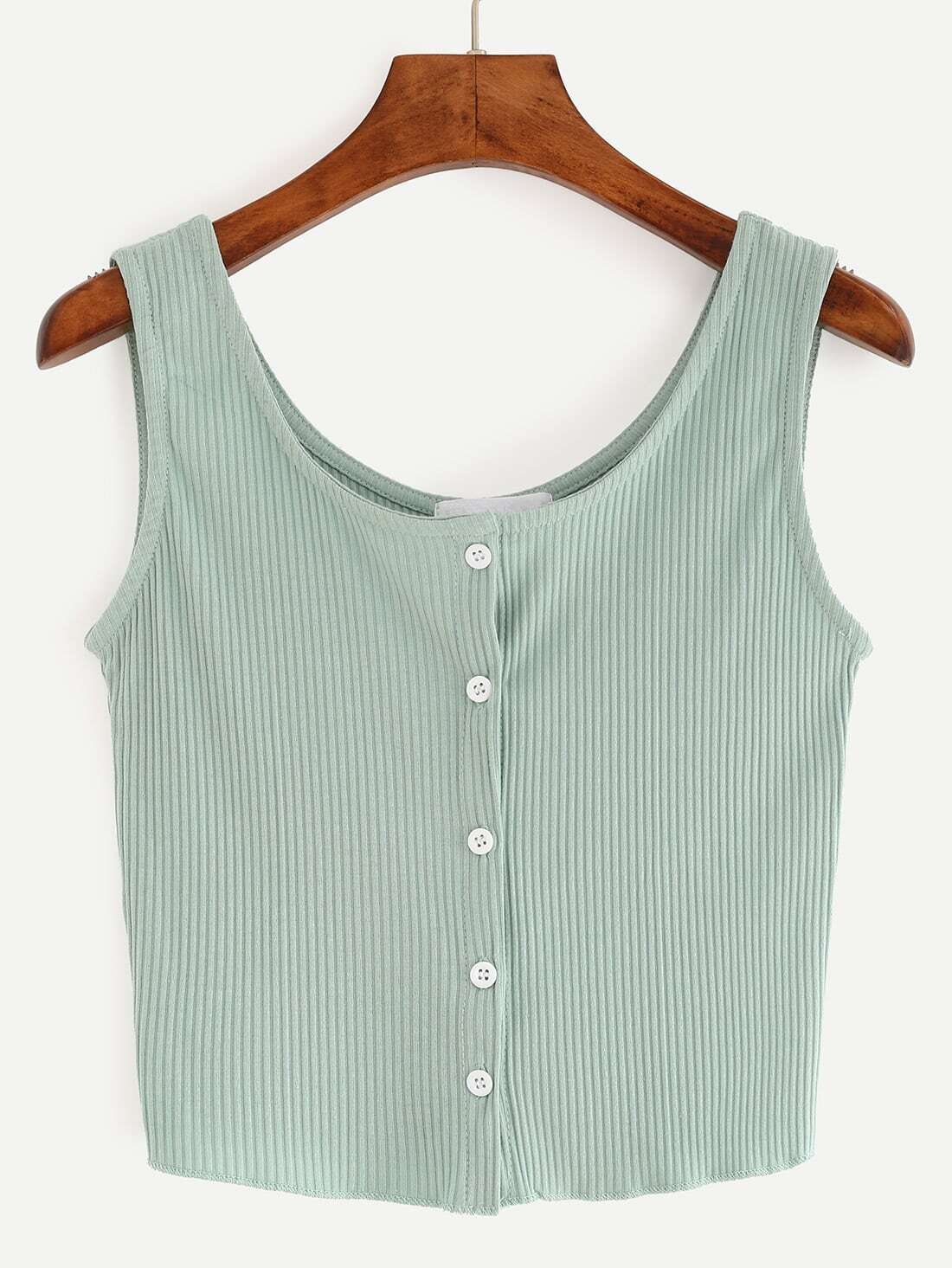 Buttoned Front Ribbed Knit Crop Tank Top vest160524076
