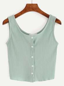 Buttoned Front Ribbed Knit Crop Tank Top SHEIN