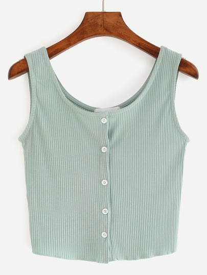Buttoned Front Ribbed Knit Crop Tank Top