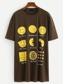 Emoji Print Tee Dress - Brown