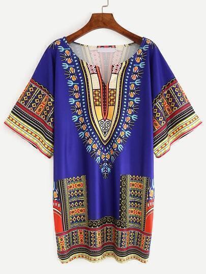 V-Cut Dashiki Shift Dress - Blue