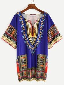 V-Cut Tribal Print Shift Dress - Blue