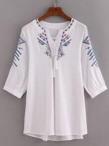 Tassel Lace-Up Neck Embroidered Blouse - White